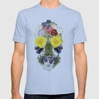 Skull Flowers Mens Fitted Tee Athletic Blue SMALL
