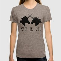 Ride or Die x Unicorns Womens Fitted Tee Tri-Coffee SMALL