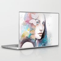 Laptop & iPad Skin featuring Lady with a butterfly by Jane-Beata
