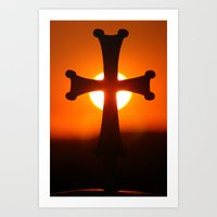 Sunset Cross Art Print