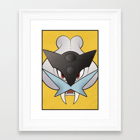 #243 Raikou - Legendary Dog Pokemon Minimalistic Pokemon Poster Framed Art Print
