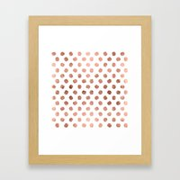 Stylish Rose Gold Polka … Framed Art Print