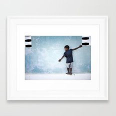 The Orphan and the Blue Wall Framed Art Print