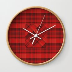 Plaid Pocket - Red Wall Clock