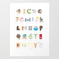 Australian Alphabet Art Print