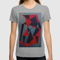 Red and Black Womens Fitted Tee Athletic Grey SMALL
