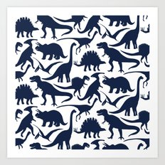 Little Dinosaur Friends - indigo Art Print