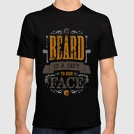 A BEARD IS A GIFT TO OUR… Mens Fitted Tee Black SMALL