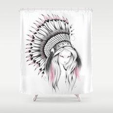 Indian Headdress Pink Version Shower Curtain