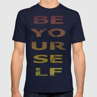 BE YOURSELF Mens Fitted Tee Navy SMALL