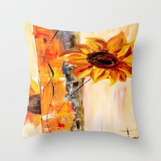 abstract sunflower Throw Pillow