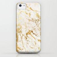 iPhone 5c Cases featuring Gold marble by Marta Olga Klara