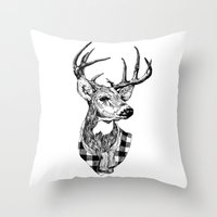 Mr Deer Throw Pillow