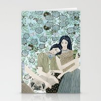 Girls With Pugs Among Ro… Stationery Cards