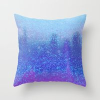 snowing on moon Throw Pillow