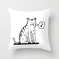 Cat whistle Throw Pillow