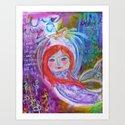 be like water - mermaid and a ship Art Print