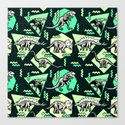 90's Dinosaur Skeleton Neon Pattern Canvas Print