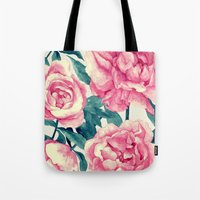 Tote Bag featuring Peonies (soft tone) by Lynette Sherrard Illustration and Design