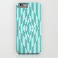 iPhone Cases featuring Square Optical Stripes In Mint by Bakmann Art