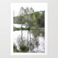 Trees by the lake Art Print
