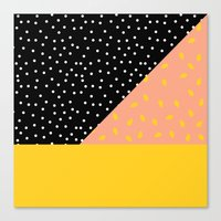 Peach Fuzz Black Polka Dot /// www.pencilmeinstationery.com Canvas Print