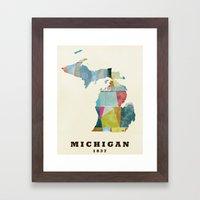 Michigan  state map modern Framed Art Print