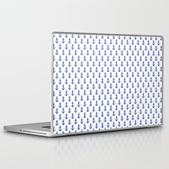 White Anchor Pattern 1 Laptop & iPad Skin