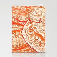 orange brushstroke Stationery Cards