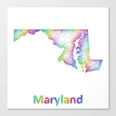 Rainbow Maryland map Canvas Print