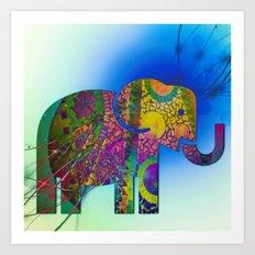 Exploding Elephant  Art Print