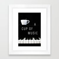 Piano & Coffee Framed Art Print