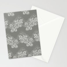 White on Grey Lace Stationery Cards
