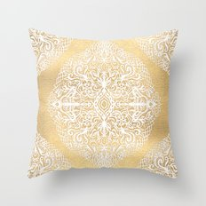 White Gouache Doodle on Gold Paint Throw Pillow