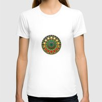 Sun Mandala 2 Womens Fitted Tee White SMALL