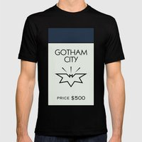 Gotham City Monopoly Location Mens Fitted Tee Black SMALL