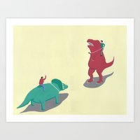 Riding Dinosaurs Art Print