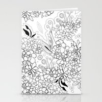 Succulents, black and white Stationery Cards