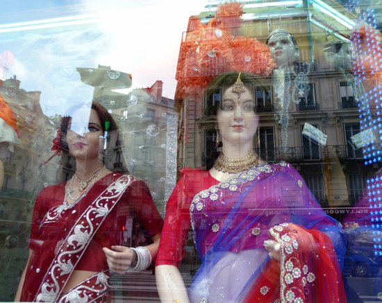 Reflections in a Sari Shop Window, Paris Art Print