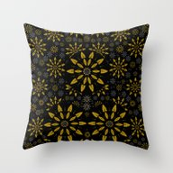 Merry Gold Stars And Sil… Throw Pillow