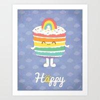 Happy Rainbow Cake Art Print