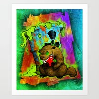 Radioactive Groundhog Eating an Apple Art Print