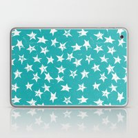 Linocut Stars - Verdigris & White Laptop & iPad Skin