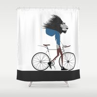 Hipster Lion and his Bicycle Shower Curtain
