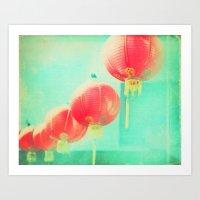 Red Paper Lanterns. Chinatown Los Angeles photograph Art Print