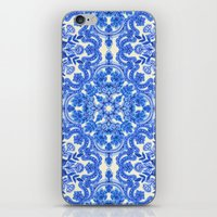 Cobalt Blue & China Whit… iPhone & iPod Skin