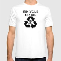Recycle Black Mens Fitted Tee White SMALL