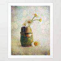 Daisies In A Handmade Va… Art Print