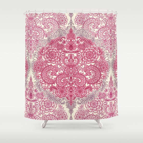 Happy Place Doodle in Berry Pink, Cream & Mauve Shower Curtain