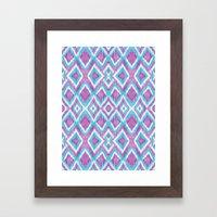 Aqua Berry Ikat Framed Art Print